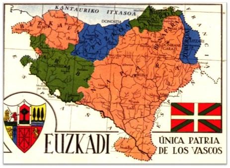 Mapa de Euzkadi. Publicado por la Editorial Ekin de Buenos Aires