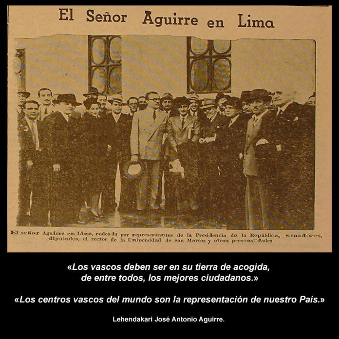 Recibimiento al Lehendakari Aguirre en Lima durante su gira americana de 1942. FONDO EDITORIAL REVISTA OIGA