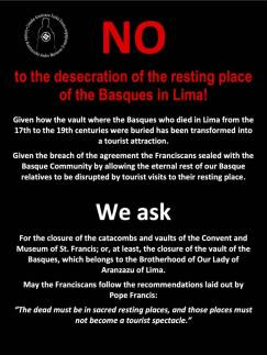 Public petition by the Brotherhood of Our Lady of Aranzazu of Lima to cease desecrating this burial place of the Basques