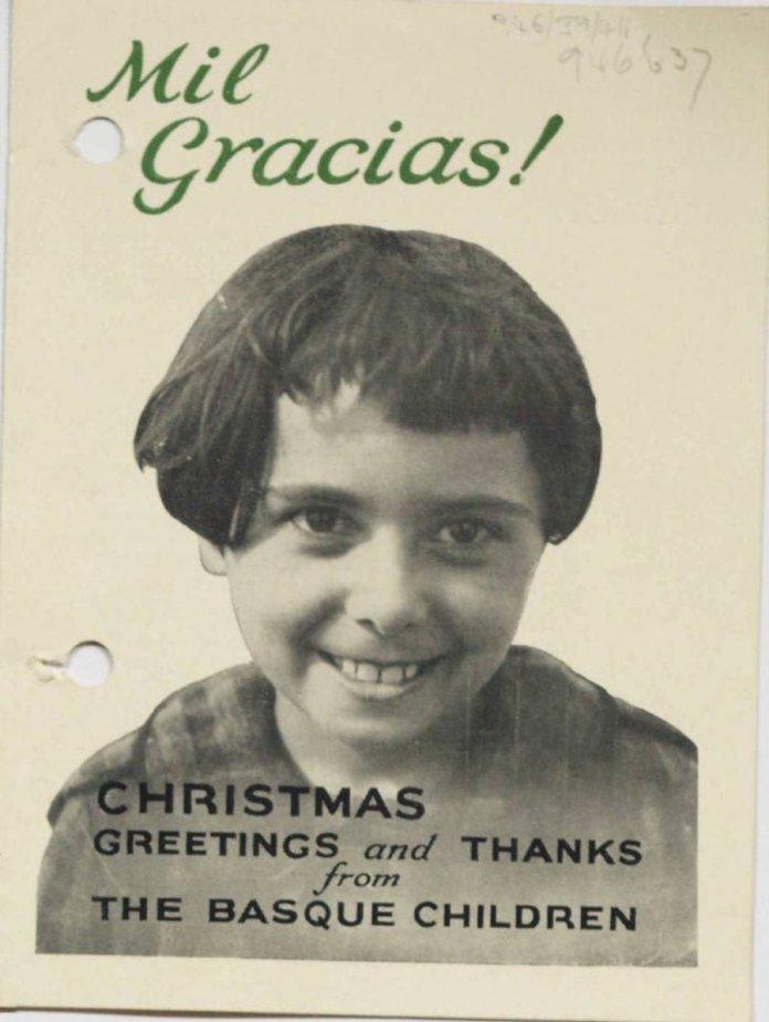 Felicitación de los niños vascos de la guerra»en Gran Bretaña