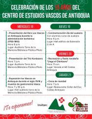 Programa de la celebración de los 15 años del Centro de Estudios Vascos de Antioquia