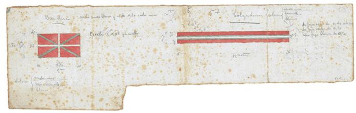 Diseño original de la ikurriña realizado por los hermanos Sabino y Luis de Arana y Goiri