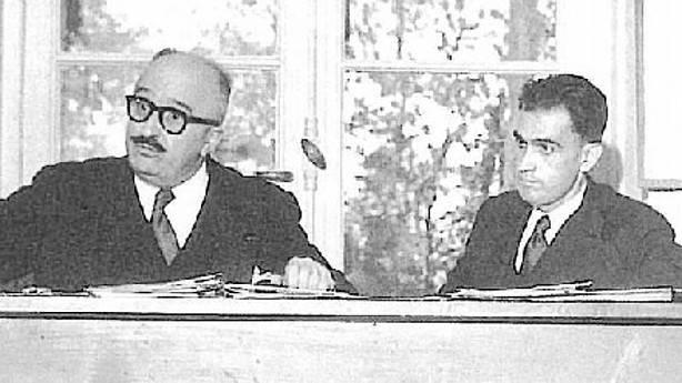 El diputado democratacristiano Ernest Pezet junto a Manuel de Ynchausti, uno de los principales promotores de la LIAB. (Sabino Arana Fundazioa)