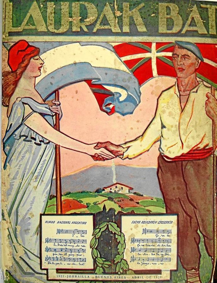Ikurriña y bandera de Argentina portada del boletín de abril de 1921 del Laurak Bat de Buenos Aires