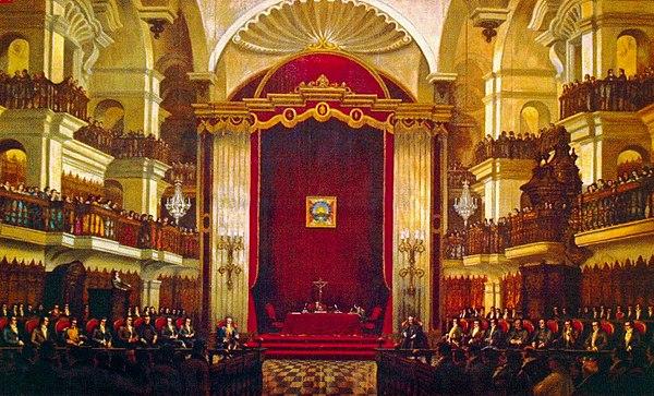 Instalación del Congreso Constituyente en la capilla de la Universidad de San Marcos el 20 de septiembre de 1822, por el pintor Francisco González Gamarra.