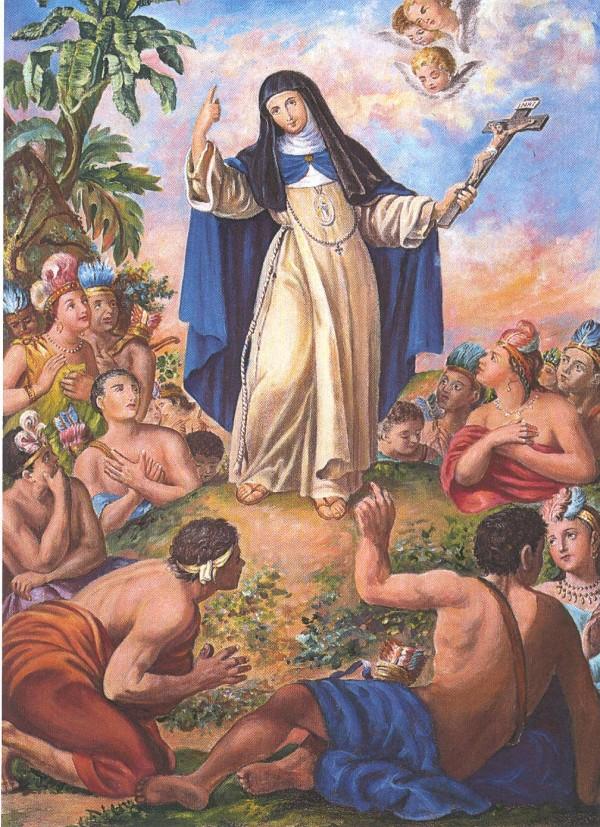Representación de María Jesús de Ágreda, la Dama Azul, evangelizando indígenas en el actual Nuevo México