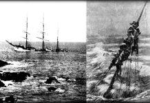 Representación del hundimiento del velero Leopoldina Rosa