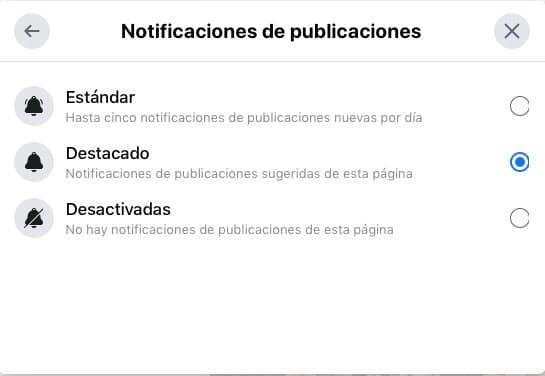Facebook. Notificación de las publicaciones