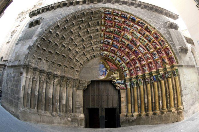 Puerta del Juicio Tudela. Con la parte dedicada a los «castigos del infierno» coloreada