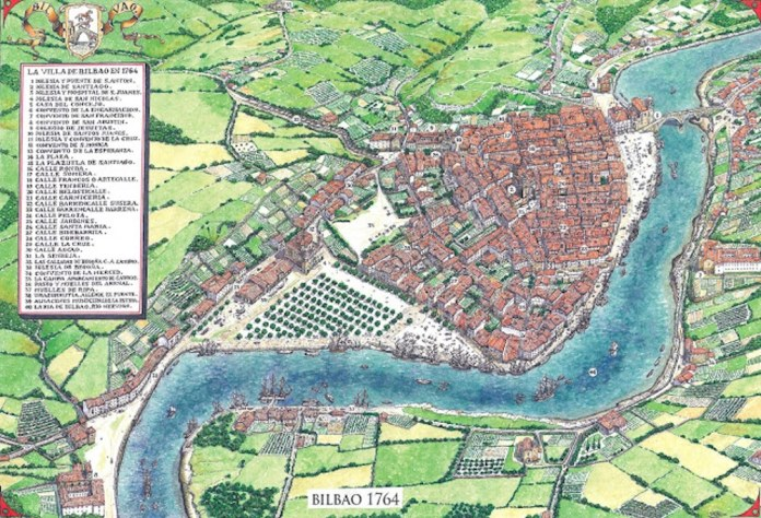 Bilbao año 1764. Entonces como ahora Boston tenía aproximadamente el doble de población que Bilbao