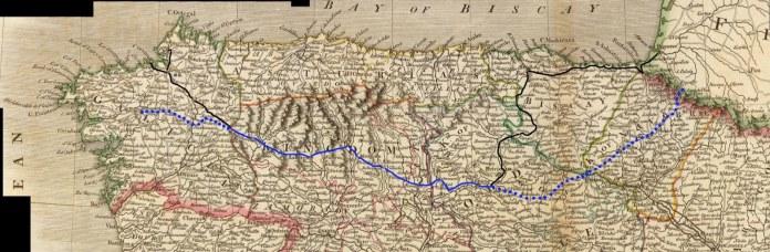 Viaje de John Adams por el norte de la Península Ibérica (línea continua) y la principal ruta del Camino de Santiago (linea azul) (mapa de Aitor Delgado)
