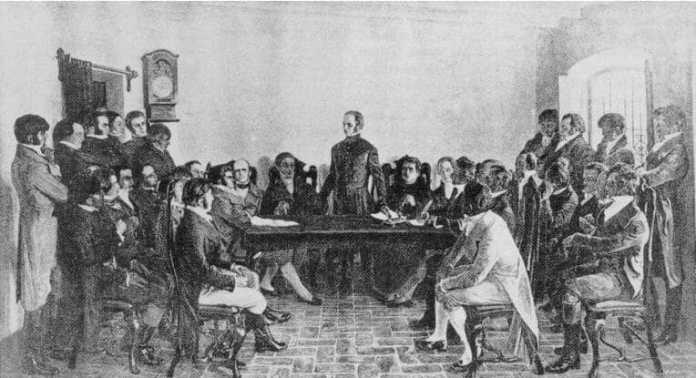 Asamblea presidida por Lavalleja, conocida como «de la Florida», en la que figuran los treinta y tres orientales. 25 de agosto de 1825. Óleo, conservado en el Palacio del Senado de Montevideo, obra de Pedro Blanes Viale.