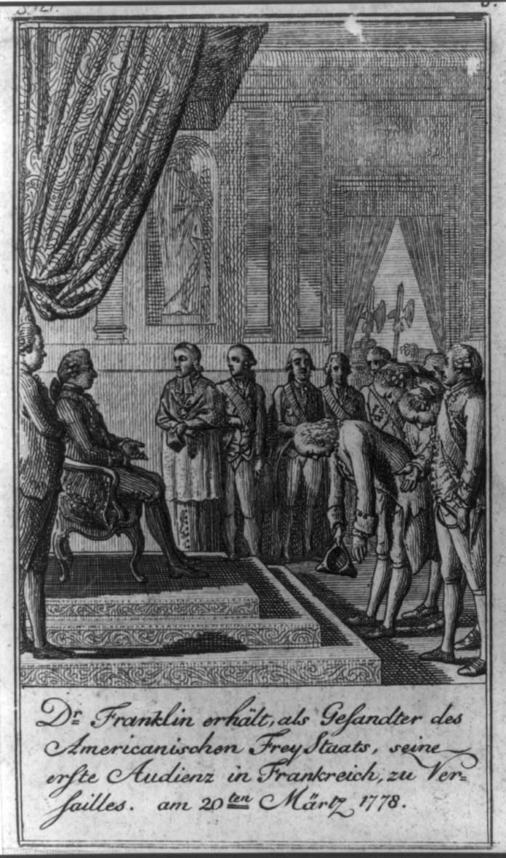 El Dr. Franklin, como enviado de los Estados Libres de América Franklin recibió su primera audiencia en Francia, en Versalles, el 20 de marzo de 1778 / D. Chodowiecki del. Et sculp. Library of Congress, Washington, D.C. (digital file no. cph cph 3a20663)