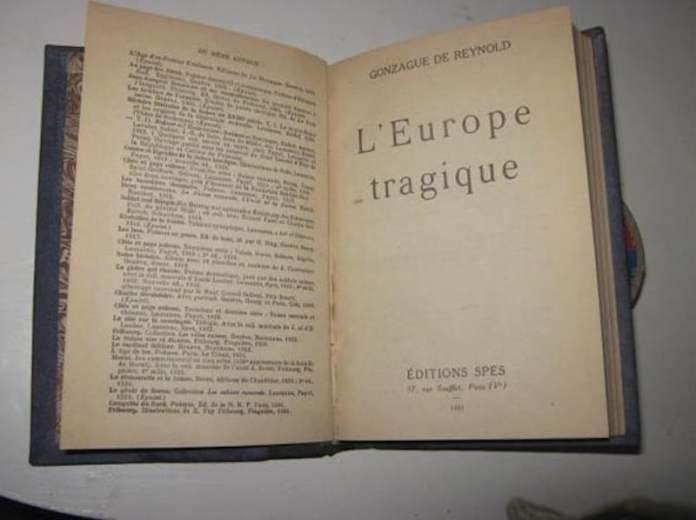 L'Europe tragique, la révolution moderne, la fin d'un monde, del profesor católico suizo Gonzague de Reynold