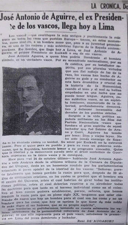 Artículo de Raúl de Mugaburu en el diario peruano Las Crónica el día en que llegó el Lehendakari Aguirre