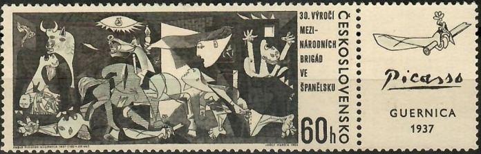 Sello checoslovaco emitido en 1966 con motivo del 30 aniversario de las Brigadas Internacionales