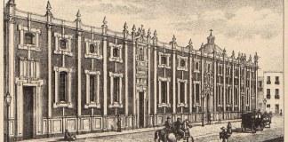 Grabado de la fachada del Colegio de San Ignacio de Loyola - Vizcaínas