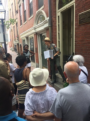 Tour guide & audience on Boston's Black Heritage Trail