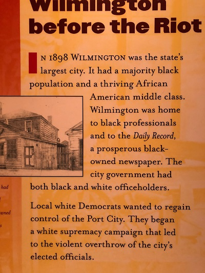 exhibit describing The Wilmington, North Carolina Insurrection of 1898