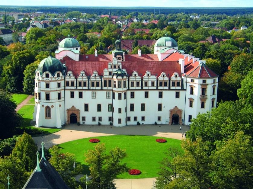 Das Celler Schloss aus der Vogelperspektive
