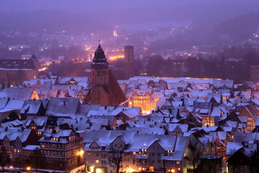 Die winterliche Stadt von der Tillyschanze aus (c) Hann. Münden Marketing GmbH, Foto: Becker
