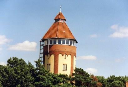 Die Spitze des Gifhorner Wasserturms ragt aus den Kronen der sie umgebenden Nadelbaumkronen.