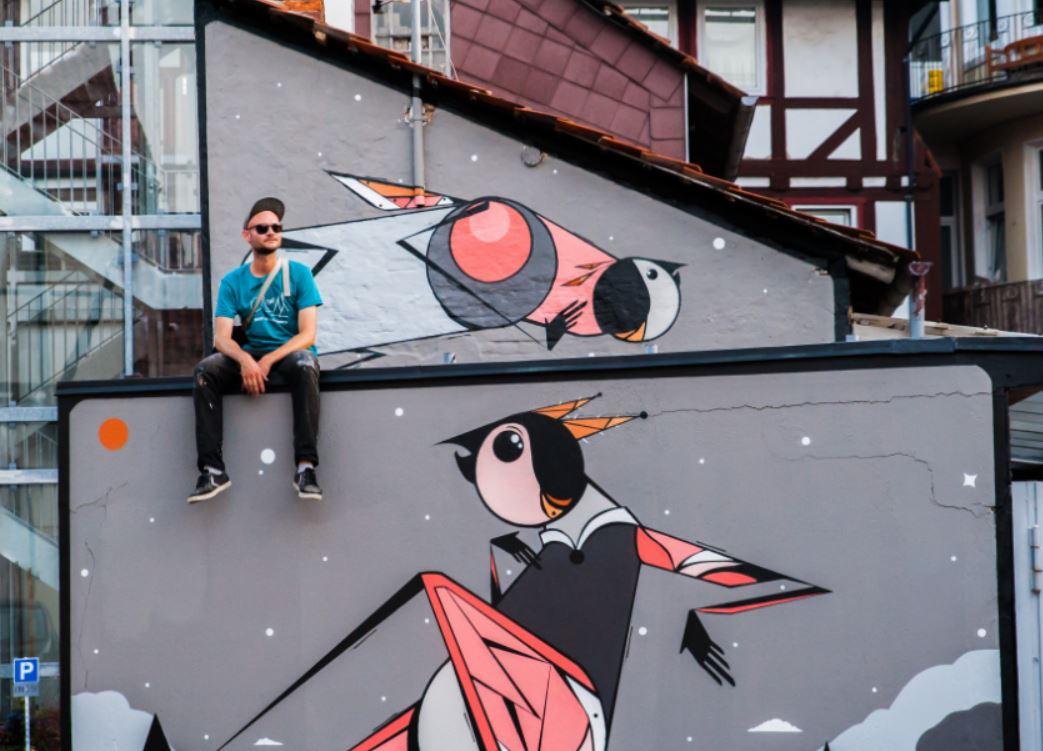 Vogelfamilie als Street Art mitten in Einbeck