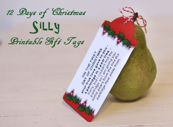 Silly 12 Days of Christmas Printable Tags About Family
