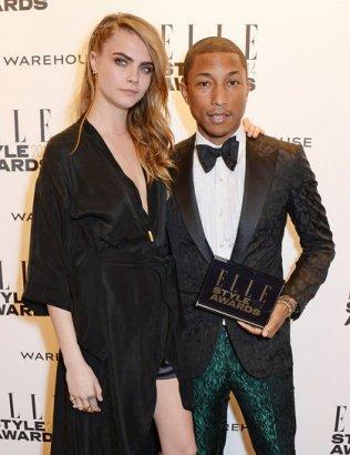 Pharrell Williams, with presenter Cara Delevingne