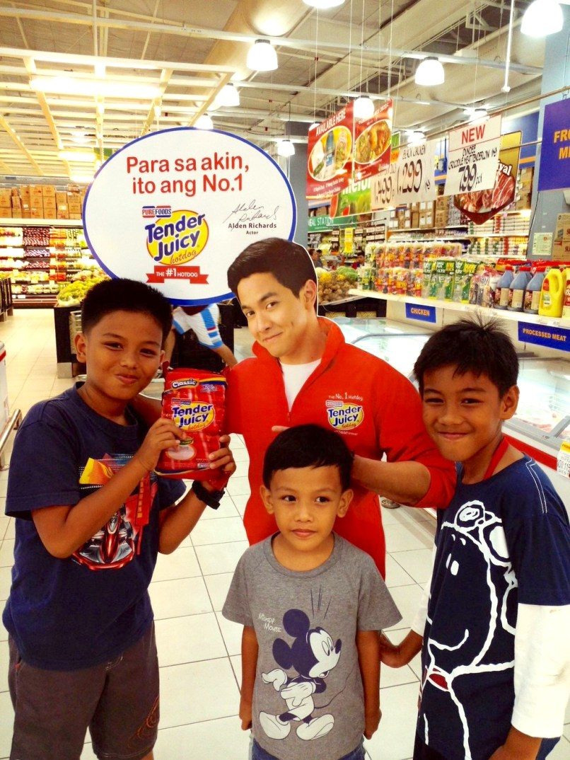 Photo by Mary Rizale of Kids with Alden Standee for Purefoods TJ Hotdog