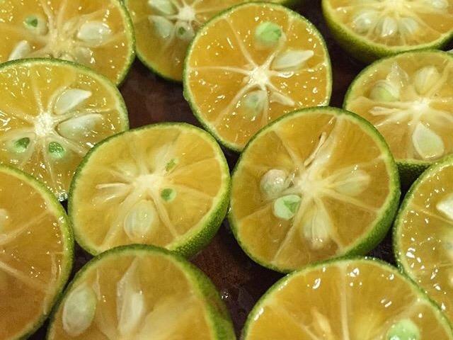 Calamansi Fruits Sliced into Halves