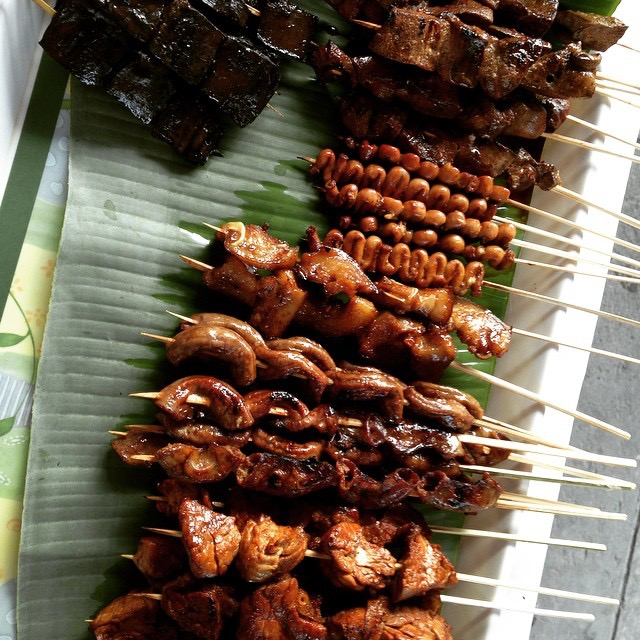 Filipino Skewered Street Foods on Banana Leaf