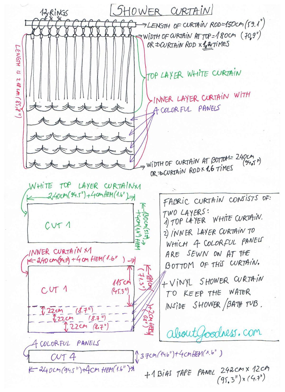 different shower curtain diy tutorial