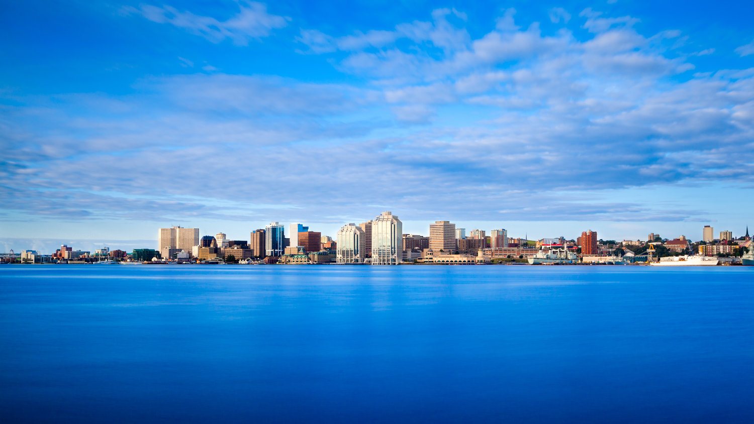 Electric blue Halifax Harbour, in Halifax, Nov Scotia