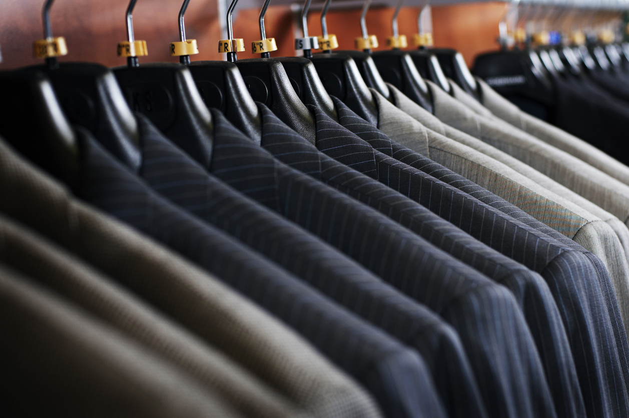 Various suits on a rack in Halifax, Nova Scotia