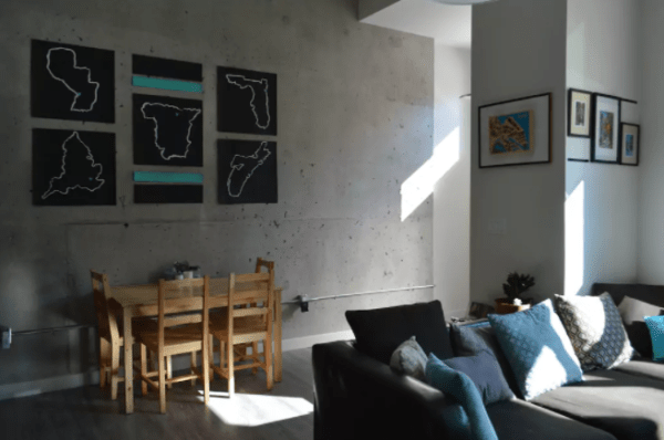 Exposed concrete walls in an Airbnb in Halifax, Nova Scotia