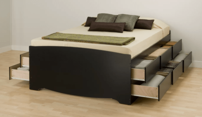 A modern bed, complete with lots of storage