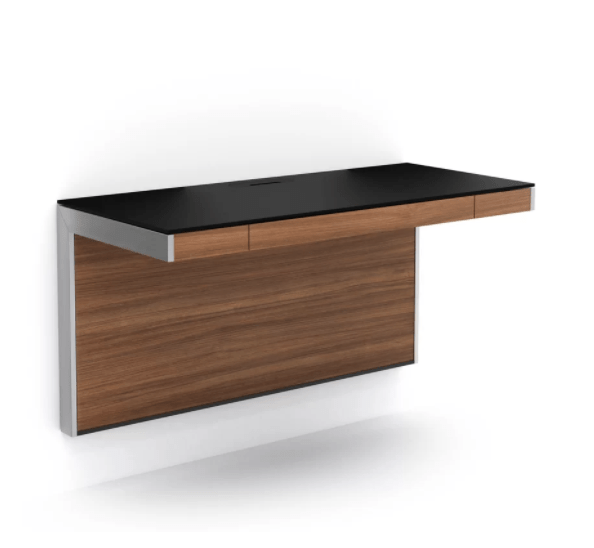A floating wall mounted desk