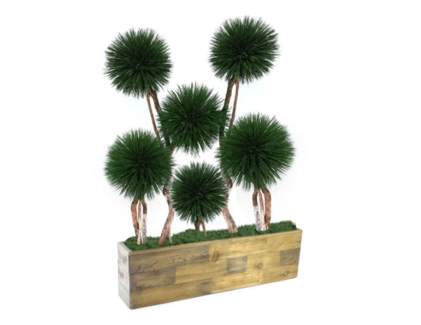 A natural-looking wood planter