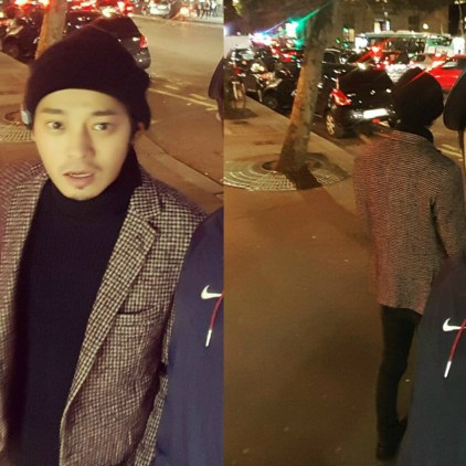 Jung Joon Young with his friend in Paris street on November 2016