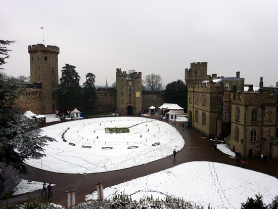 Warwick Castle in the snow – hopefully you'll get warmer weather when you visit