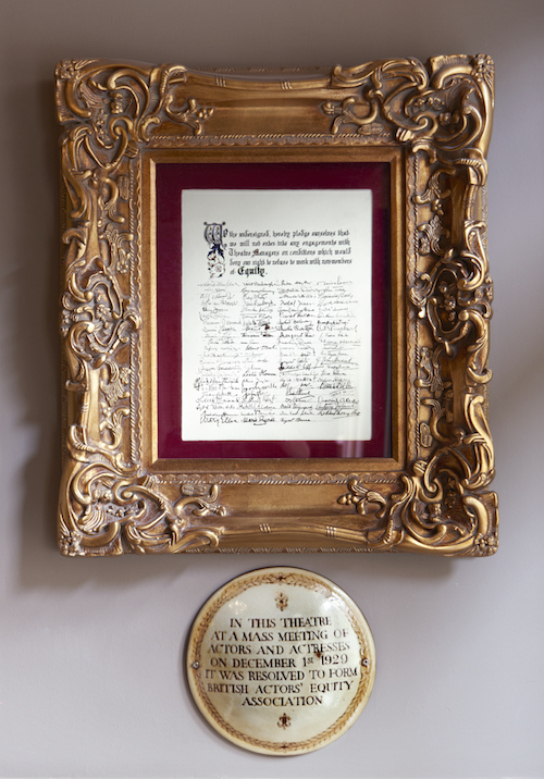 Duke of Yorks Theatre - signed Equity document. Copyright Peter Dazeley