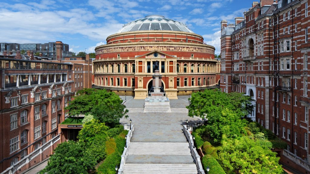 Exterior view of the Royal Albert Hall's south entrance