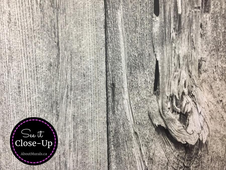 A close up photo of a grey barn wood wall mural