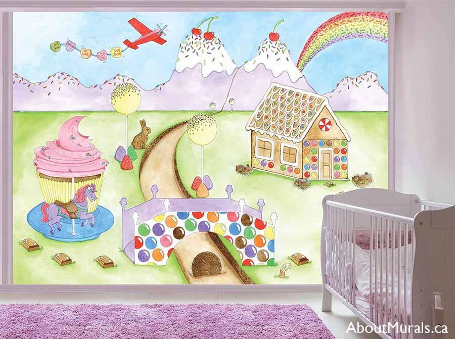 Candy World Wall Mural, as seen in this purple nursery, is a painting of a candyland full of ice cream mountains, a gingerbread house and a cupcake carousel. Kids wallpaper sold by AboutMurals.ca