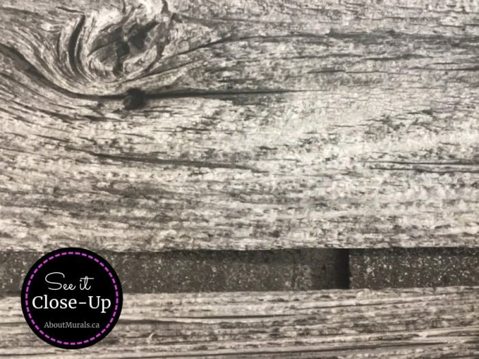 A close up photo of a horizontal barn wood wall mural sold by AboutMurals.ca