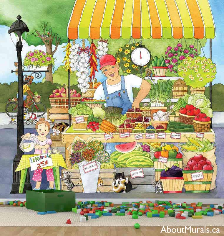 Market Place Wall Mural, as seen in this playroom, features a farmer and his little girl selling fruit, vegetables and lemonade. Childrens wall murals sold by AboutMurals.ca.
