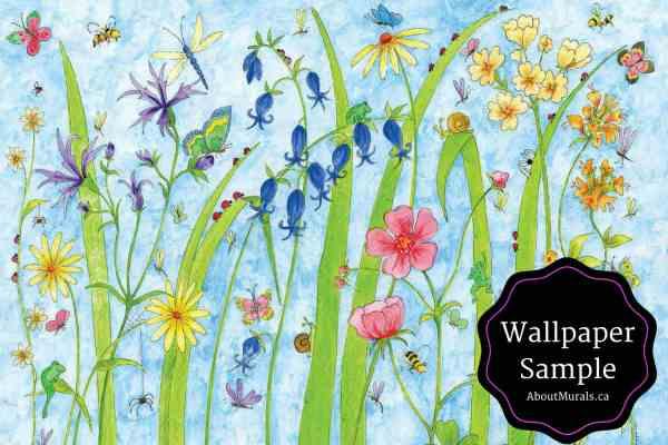 Butterfly Garden Flower Mural Wallpaper Sample
