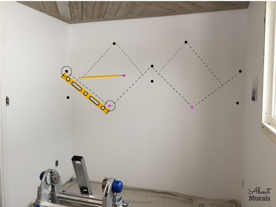 A tutorial on how to draw a DIY mountain mural by AboutMurals.ca