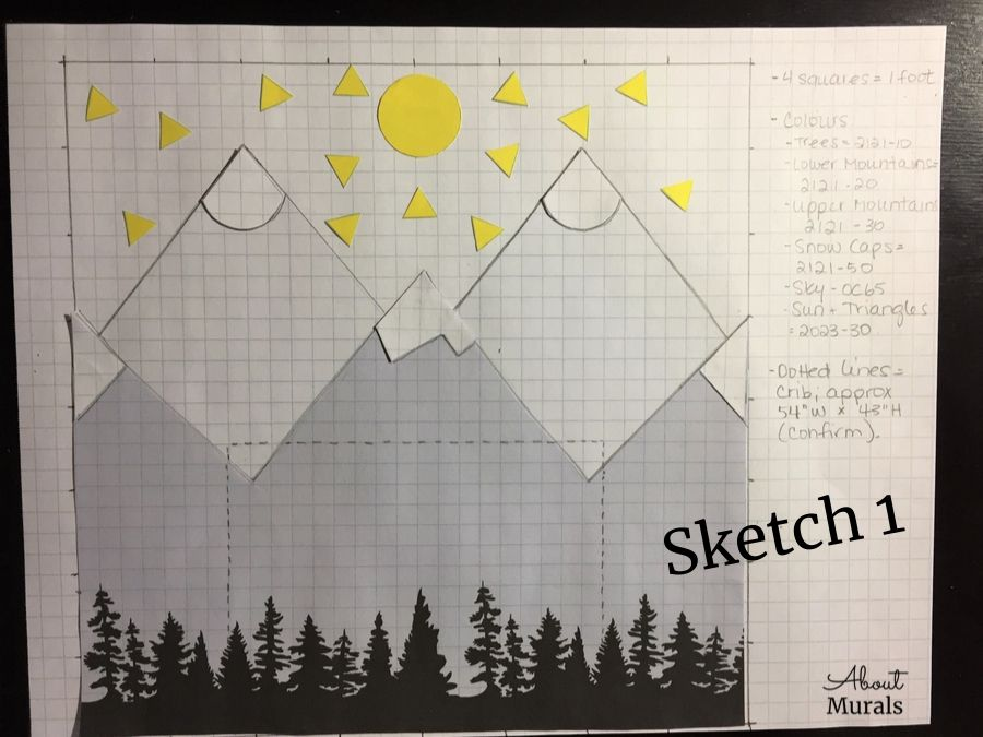 A sketch of a DIY mountain mural by AboutMurals.ca featuring grey geometric shaped mountains and yellow triangles and sun, by AboutMurals.ca